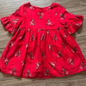 Gorgeous LN Baby Gap Bell Sleeve Red Roses Dress